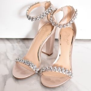 Badgley Mischka diamond satin heels